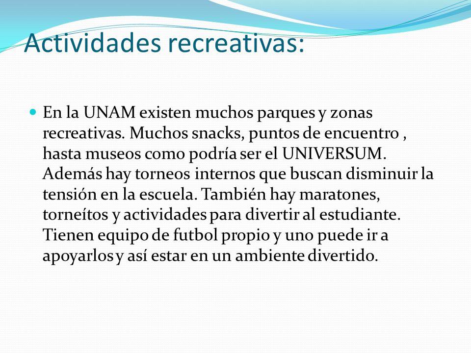 Actividades recreativas: En la UNAM existen muchos parques y zonas recreativas. Muchos snacks, puntos de encuentro, hasta museos como podría ser el UN