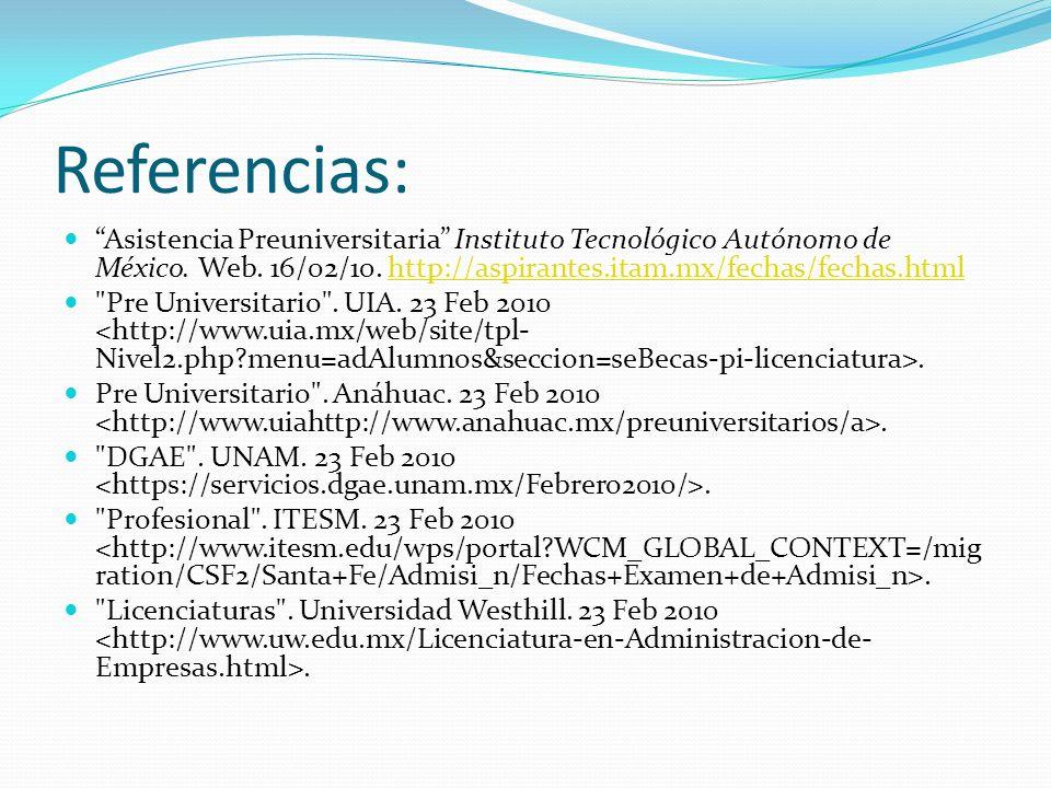Referencias: Asistencia Preuniversitaria Instituto Tecnológico Autónomo de México. Web. 16/02/10. http://aspirantes.itam.mx/fechas/fechas.htmlhttp://a