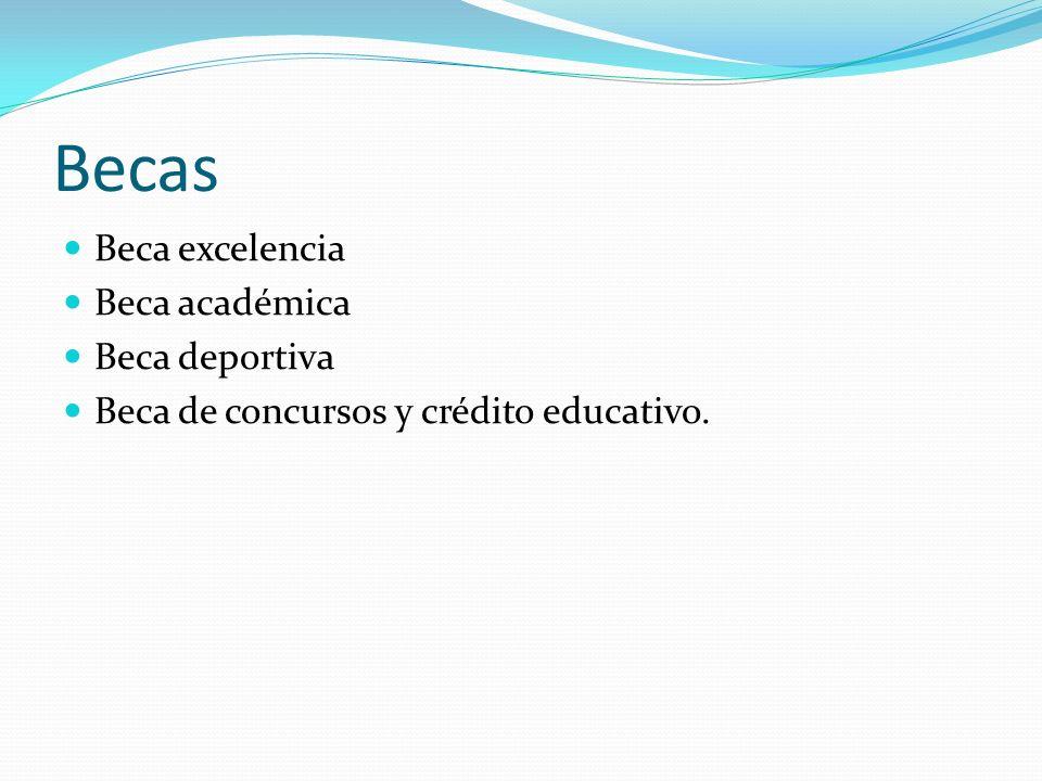 Becas Beca excelencia Beca académica Beca deportiva Beca de concursos y crédito educativo.