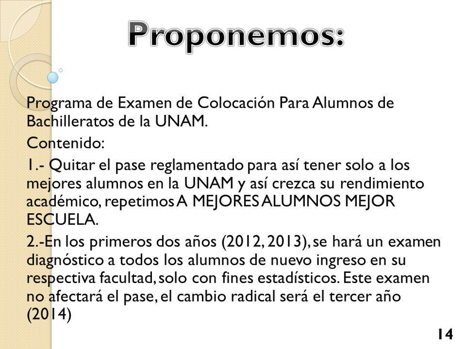 Programa de Examen de Colocación Para Alumnos de Bachilleratos de la UNAM. Contenido: 1.- Quitar el pase reglamentado para así tener solo a los mejore