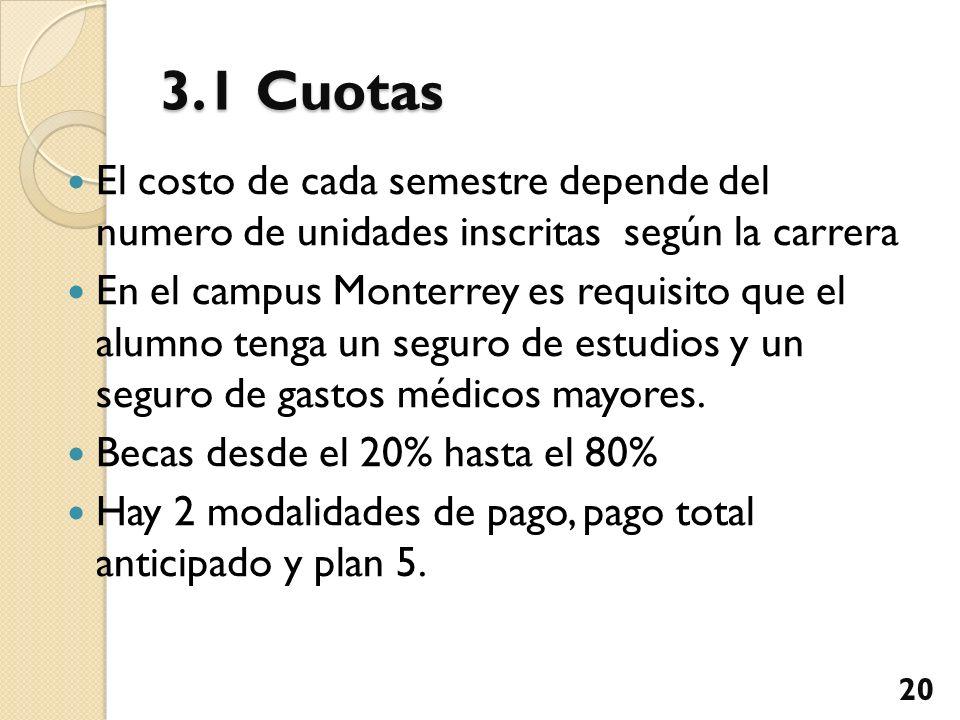 3.1 Cuotas El costo de cada semestre depende del numero de unidades inscritas según la carrera En el campus Monterrey es requisito que el alumno tenga