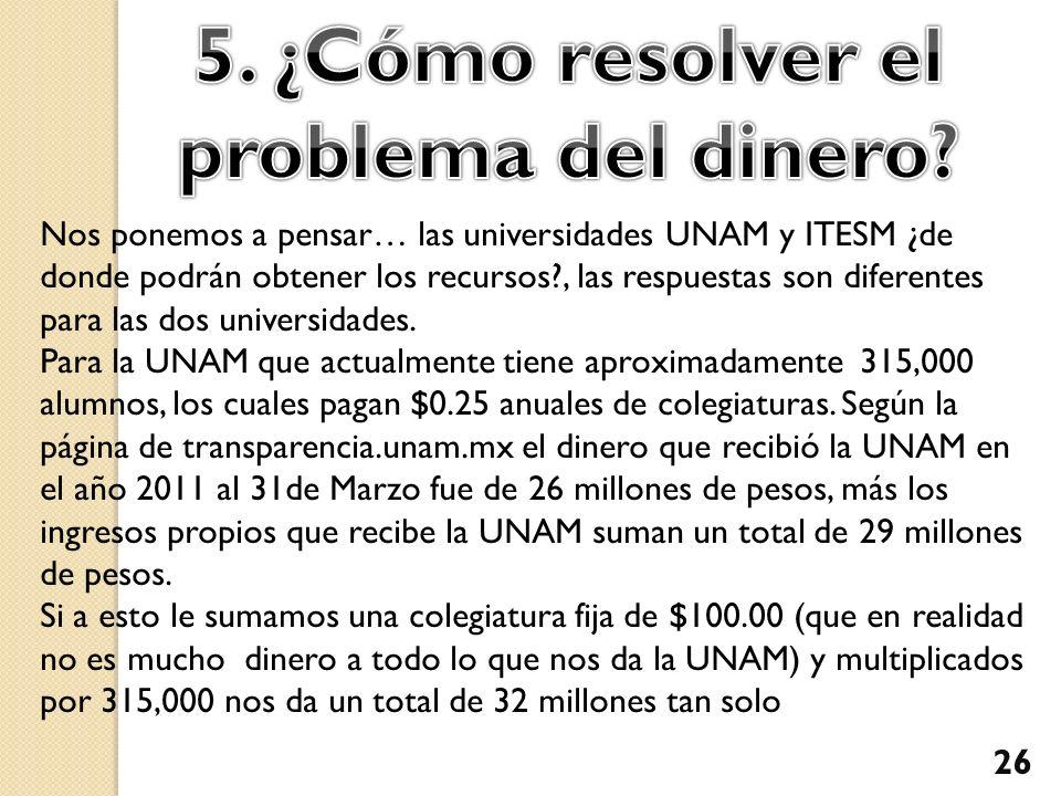 Nos ponemos a pensar… las universidades UNAM y ITESM ¿de donde podrán obtener los recursos?, las respuestas son diferentes para las dos universidades.