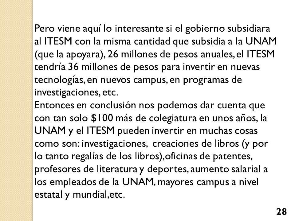 Pero viene aquí lo interesante si el gobierno subsidiara al ITESM con la misma cantidad que subsidia a la UNAM (que la apoyara), 26 millones de pesos