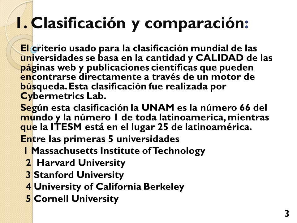 El criterio usado para la clasificación mundial de las universidades se basa en la cantidad y CALIDAD de las páginas web y publicaciones científicas q