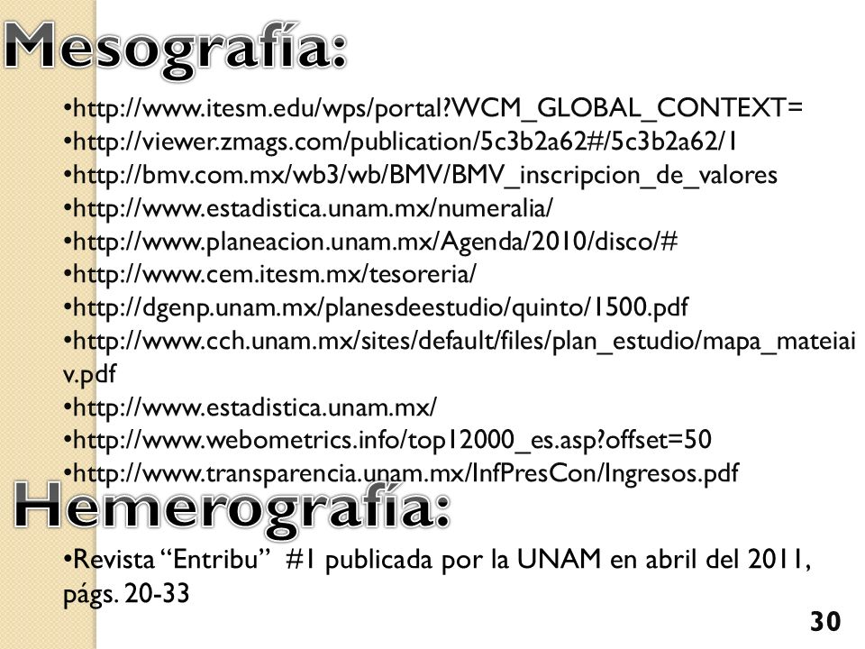 http://www.itesm.edu/wps/portal?WCM_GLOBAL_CONTEXT= http://viewer.zmags.com/publication/5c3b2a62#/5c3b2a62/1 http://bmv.com.mx/wb3/wb/BMV/BMV_inscripc