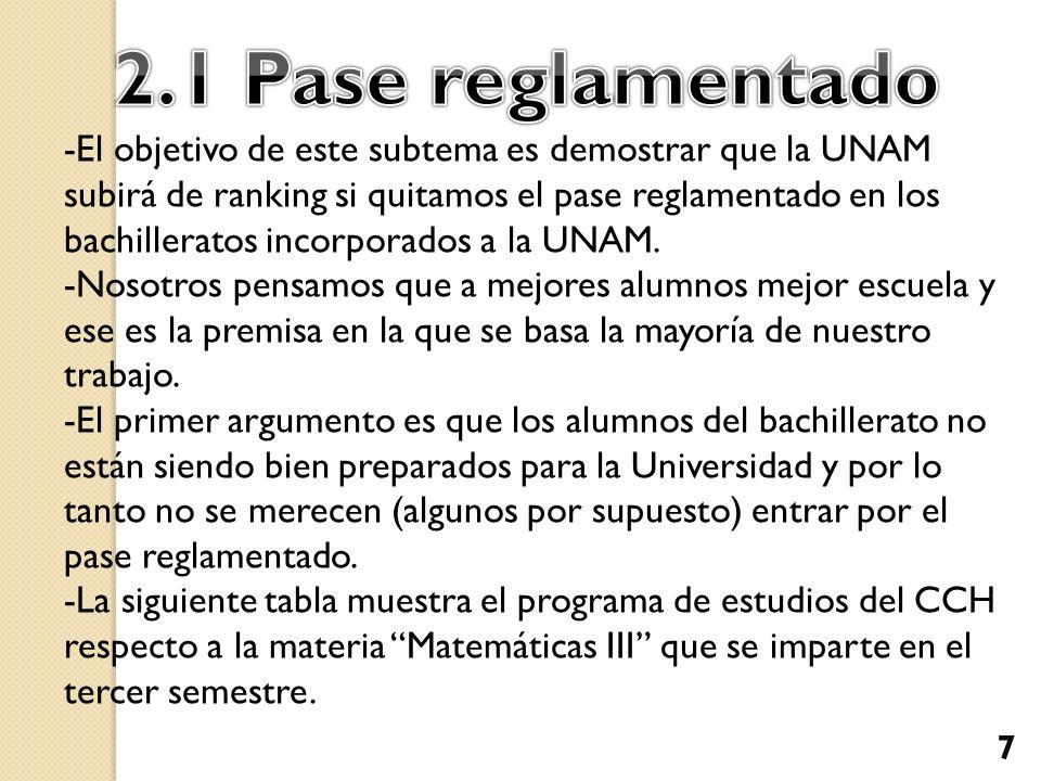 -El objetivo de este subtema es demostrar que la UNAM subirá de ranking si quitamos el pase reglamentado en los bachilleratos incorporados a la UNAM.