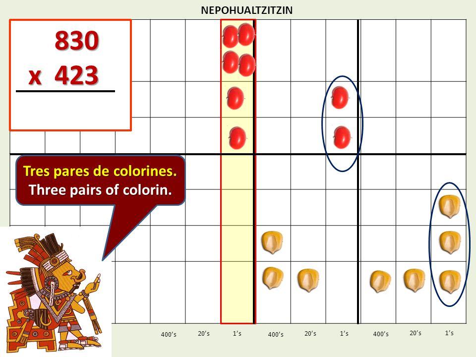 NEPOHUALTZITZIN 1s20s 400s 1s 400s 20s 830 830 x 423 x 423 1s 400s 20s Tres pares de colorines. Three pairs of colorin.