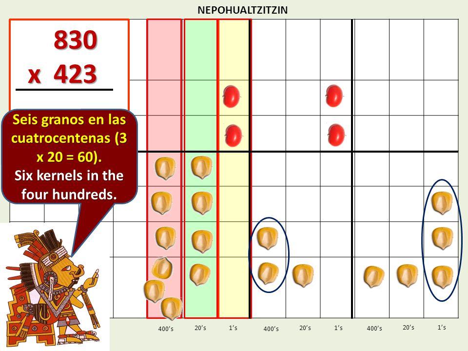 NEPOHUALTZITZIN 1s20s 400s 1s 400s 20s 830 830 x 423 x 423 1s 400s 20s Seis granos en las cuatrocentenas (3 x 20 = 60). Six kernels in the four hundre