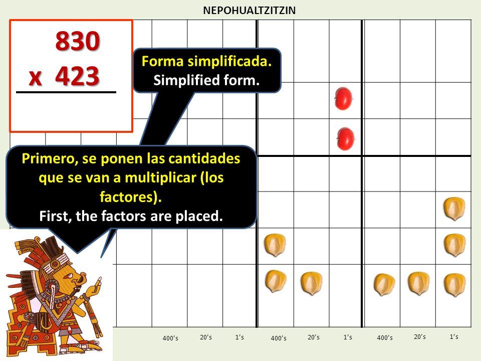 NEPOHUALTZITZIN 1s20s 400s 1s 400s 20s 830 830 x 423 x 423 1s 400s 20s Forma simplificada. Simplified form. Primero, se ponen las cantidades que se va