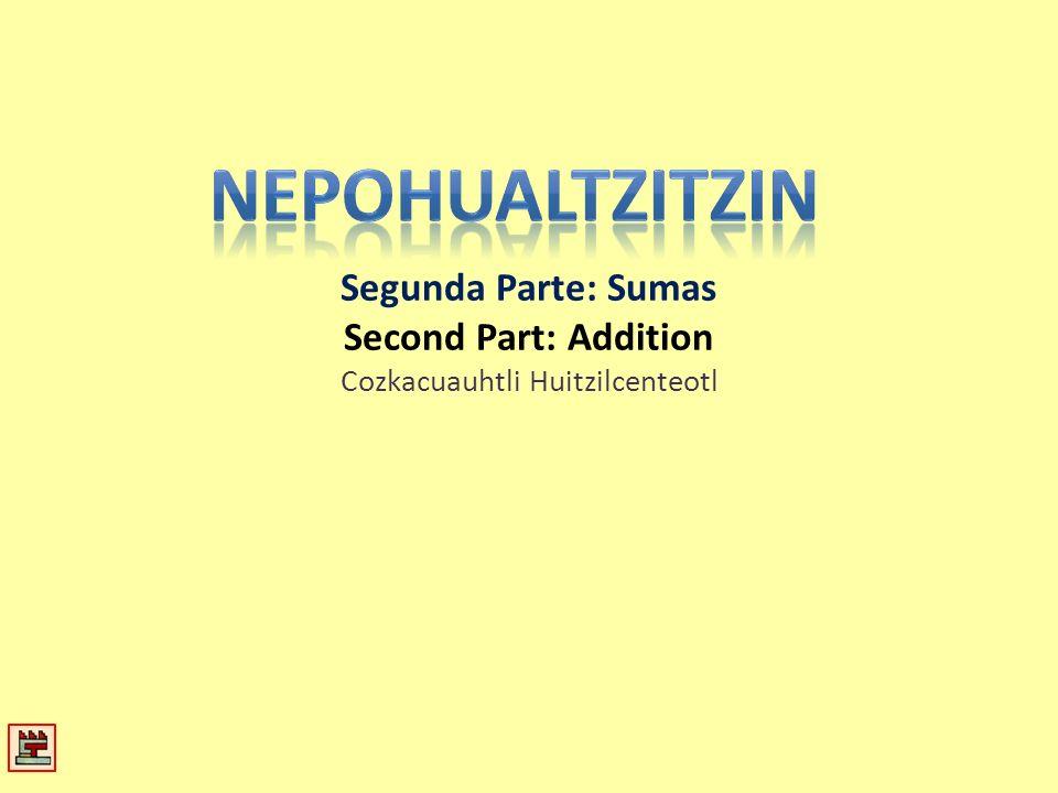 Segunda Parte: Sumas Second Part: Addition Cozkacuauhtli Huitzilcenteotl
