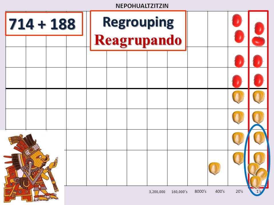 NEPOHUALTZITZIN 1s20s400s8000s 3,200,000160,000s RegroupingReagrupando 714 + 188