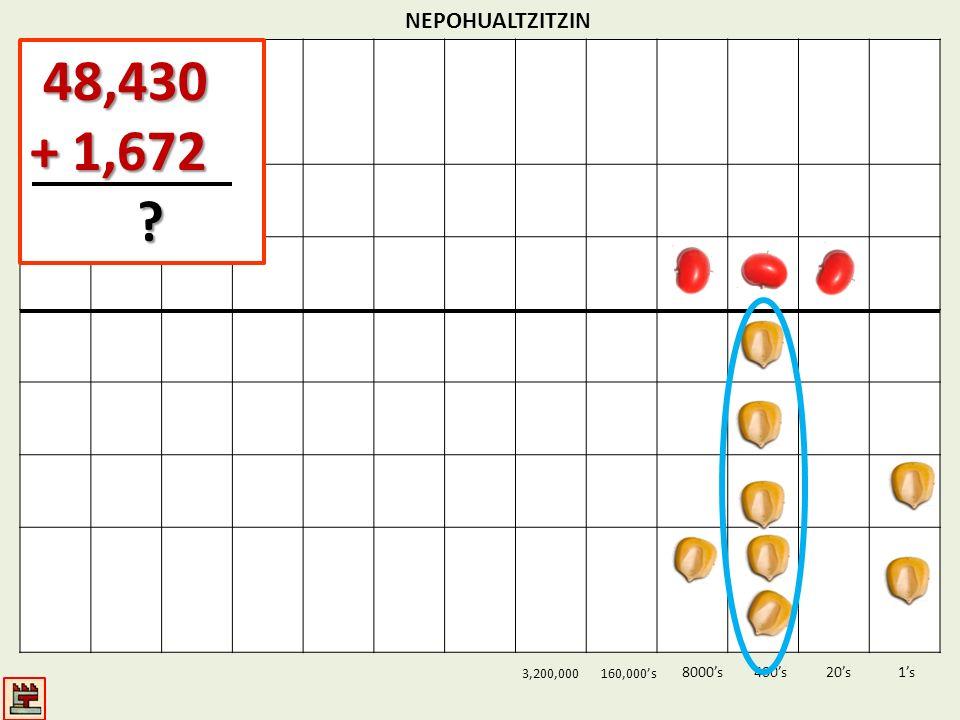 NEPOHUALTZITZIN 1s20s400s8000s 3,200,000160,000s 48,430 48,430 + 1,672 ?