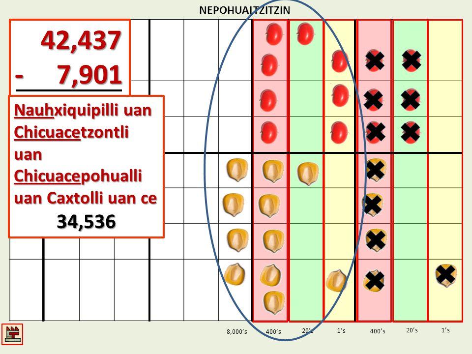 NEPOHUALTZITZIN 1s20s 400s 1s 400s 20s 42,437 42,437 - 7,901 8,000s Nauhxiquipilli uan Chicuacetzontli uan Chicuacepohualli uan Caxtolli uan ce 34,536