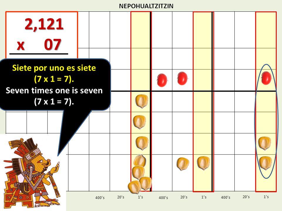 NEPOHUALTZITZIN 1s20s 400s 1s 400s 20s 2,121 2,121 x 07 x 07 1s 400s 20s Siete por uno es siete (7 x 1 = 7). Seven times one is seven (7 x 1 = 7).
