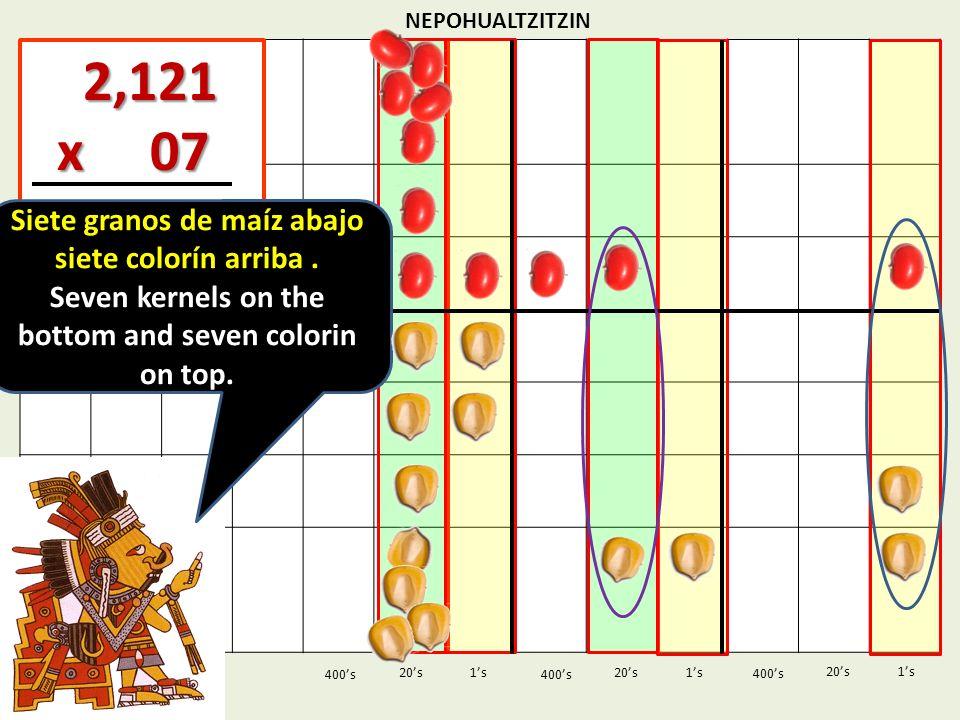 NEPOHUALTZITZIN 1s20s 400s 1s 400s 20s 2,121 2,121 x 07 x 07 1s 400s 20s Siete granos de maíz abajo siete colorín arriba. Seven kernels on the bottom