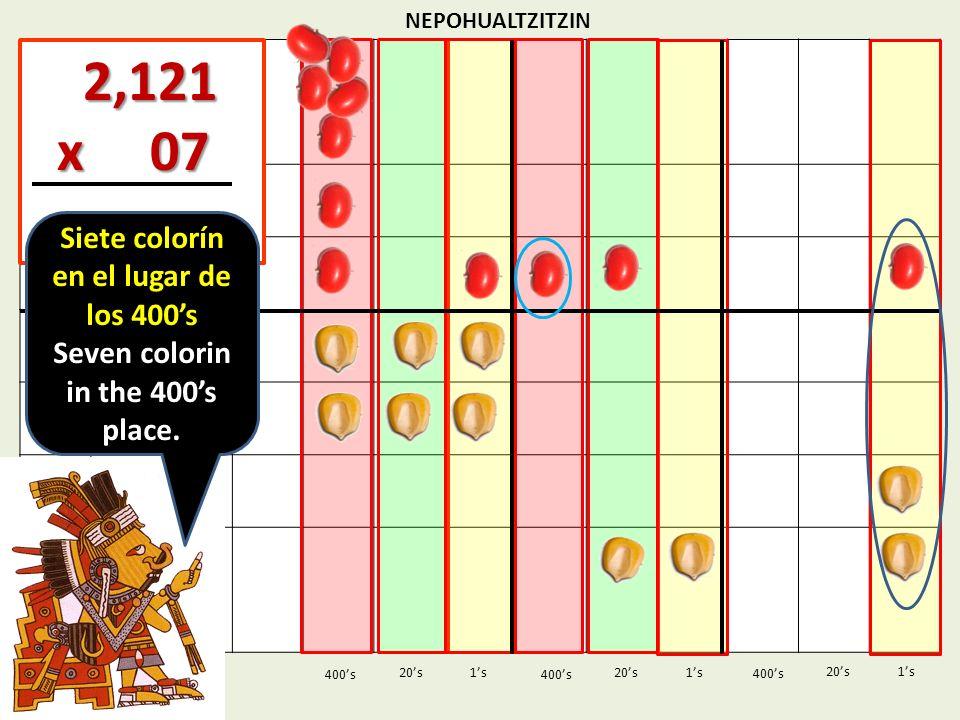 NEPOHUALTZITZIN 1s20s 400s 1s 400s 20s 2,121 2,121 x 07 x 07 1s 400s 20s Siete colorín en el lugar de los 400s Seven colorin in the 400s place.