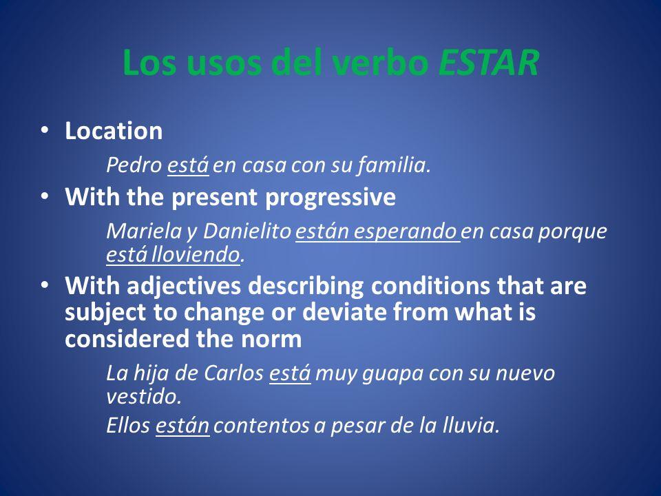 Los usos del verbo ESTAR Location Pedro está en casa con su familia.