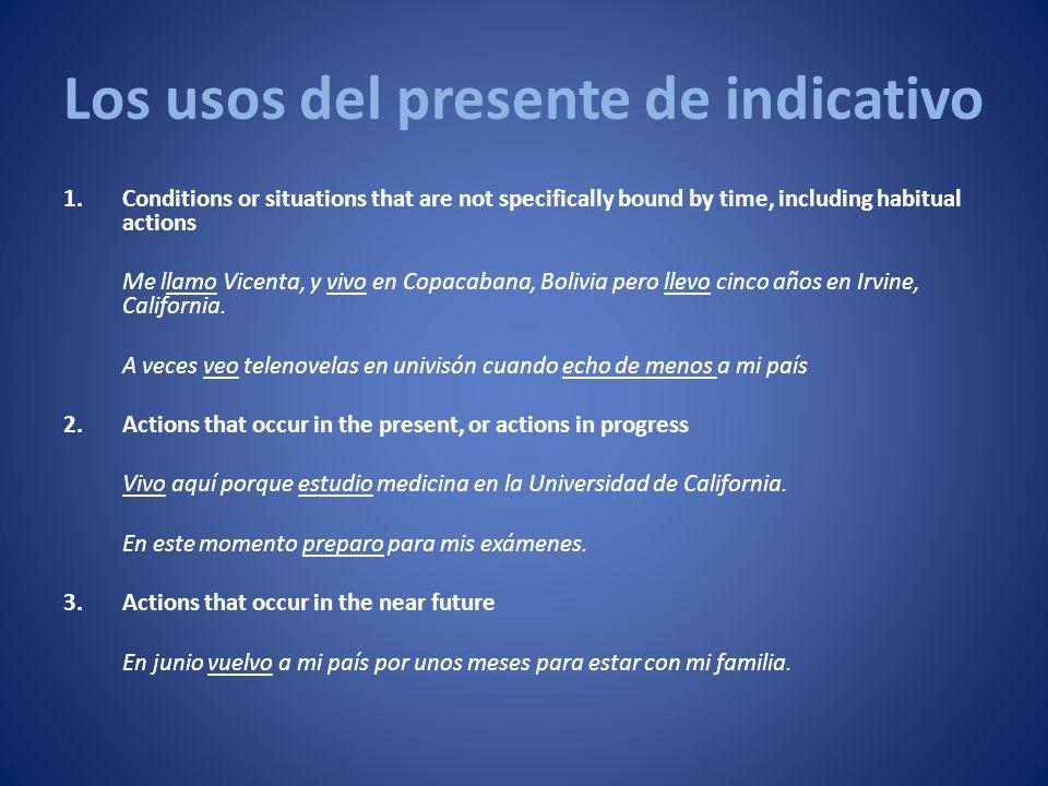 Los usos del presente de indicativo 4.Actions in past-tense narrations that are brought to life through the use of the present tense El pintor ecuatoriano Guayasamín nace en Quito, Ecuador, en 1919.