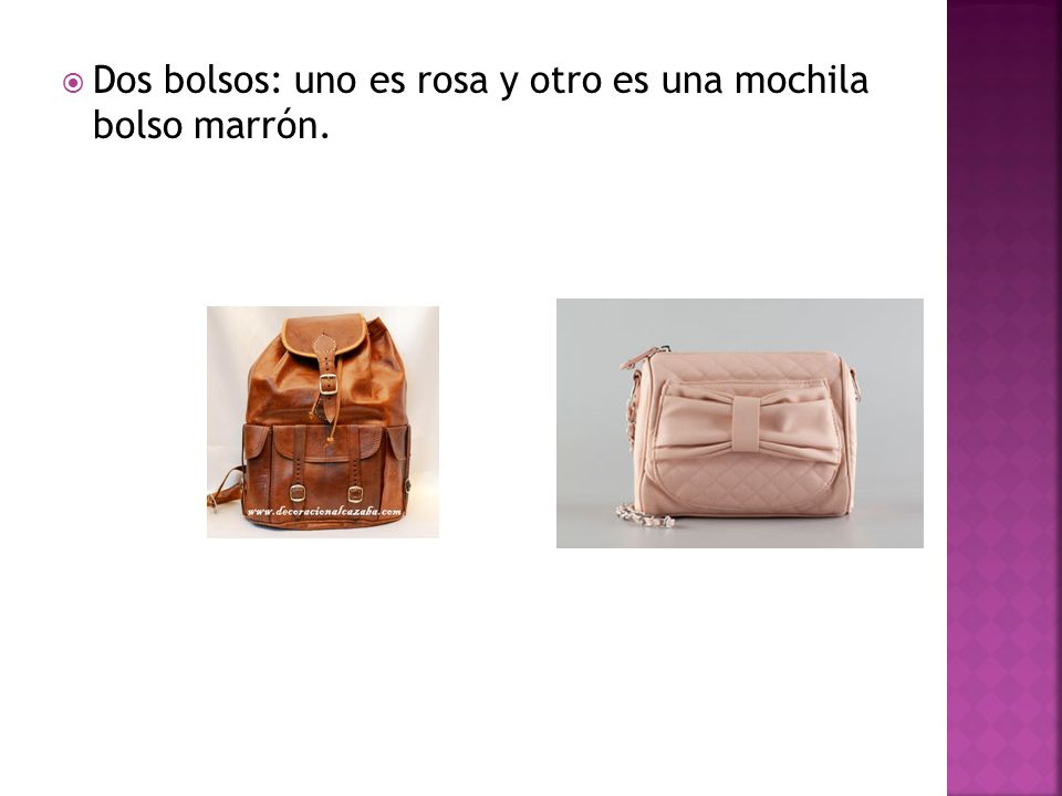 Dos bolsos: uno es rosa y otro es una mochila bolso marrón.