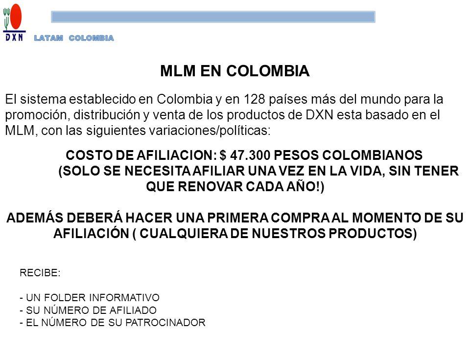 MLM EN COLOMBIA El sistema establecido en Colombia y en 128 países más del mundo para la promoción, distribución y venta de los productos de DXN esta