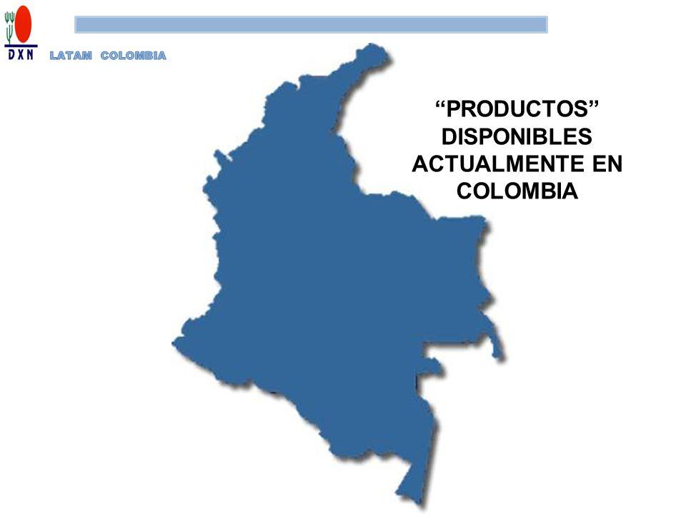 PRODUCTOS DISPONIBLES ACTUALMENTE EN COLOMBIA