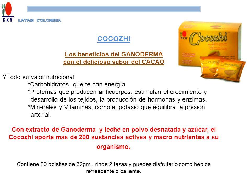 COCOZHI Los beneficios del GANODERMA con el delicioso sabor del CACAO Y todo su valor nutricional: *Carbohidratos, que te dan energía. *Proteínas que