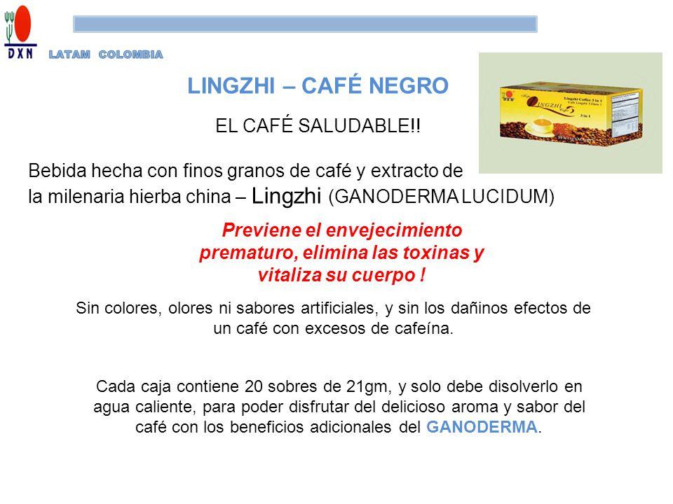 Previene el envejecimiento prematuro, elimina las toxinas y vitaliza su cuerpo ! LINGZHI – CAFÉ NEGRO EL CAFÉ SALUDABLE!! Bebida hecha con finos grano