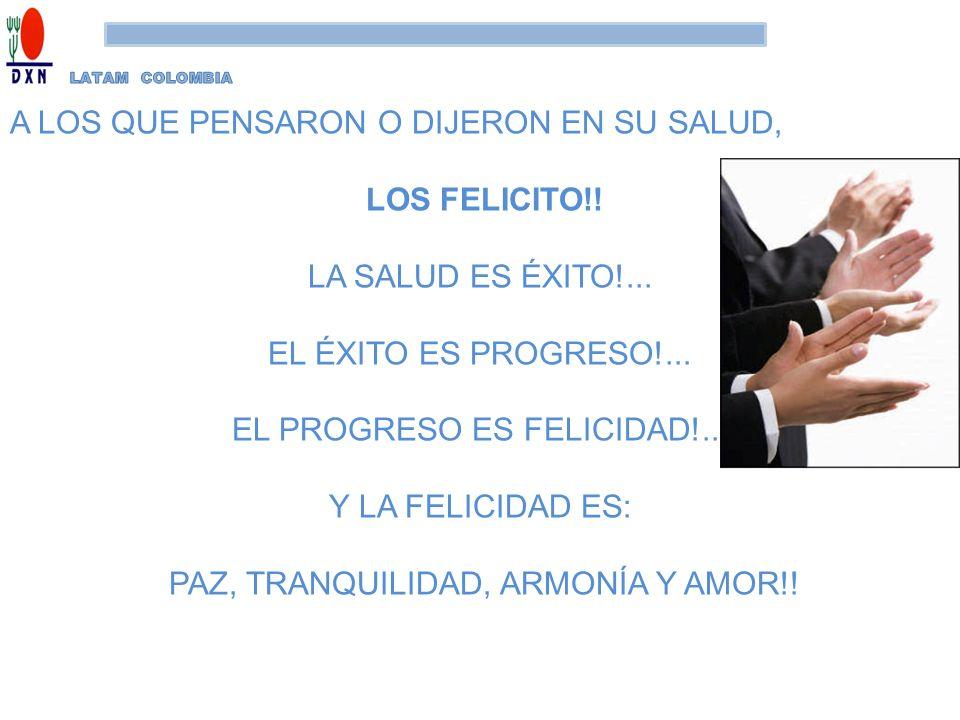 A LOS QUE PENSARON O DIJERON EN SU SALUD, LOS FELICITO!! LA SALUD ES ÉXITO!... EL ÉXITO ES PROGRESO!... EL PROGRESO ES FELICIDAD!... Y LA FELICIDAD ES