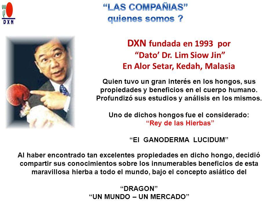 DXN fundada en 1993 por Dato Dr. Lim Siow Jin En Alor Setar, Kedah, Malasia Quien tuvo un gran interés en los hongos, sus propiedades y beneficios en