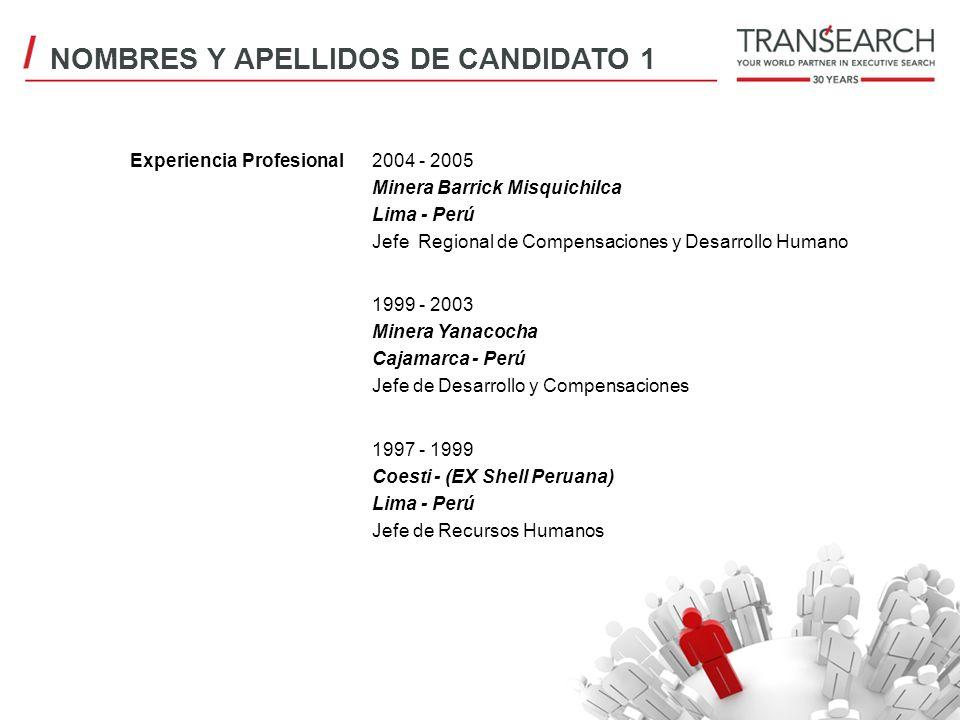 Experiencia Profesional2004 - 2005 Minera Barrick Misquichilca Lima - Perú Jefe Regional de Compensaciones y Desarrollo Humano 1999 - 2003 Minera Yana