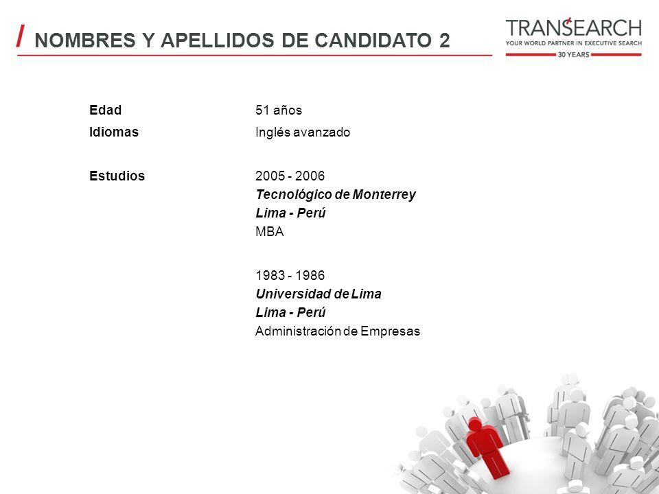 Edad51 años IdiomasInglés avanzado Estudios2005 - 2006 Tecnológico de Monterrey Lima - Perú MBA 1983 - 1986 Universidad de Lima Lima - Perú Administra