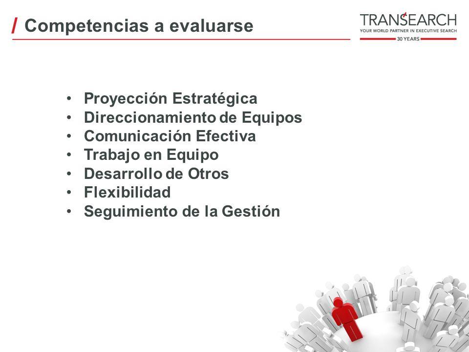 Competencias a evaluarse Proyección Estratégica Direccionamiento de Equipos Comunicación Efectiva Trabajo en Equipo Desarrollo de Otros Flexibilidad S