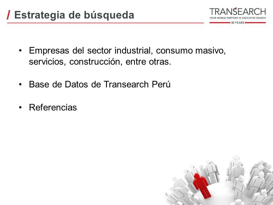 Empresas del sector industrial, consumo masivo, servicios, construcción, entre otras. Base de Datos de Transearch Perú Referencias Estrategia de búsqu