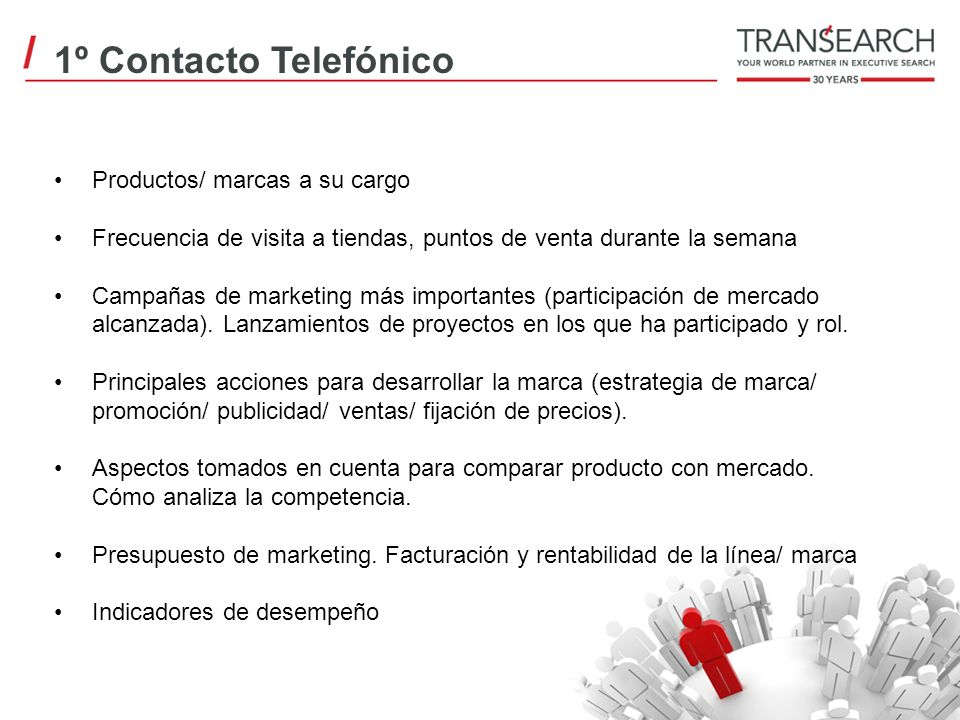 1º Contacto Telefónico Productos/ marcas a su cargo Frecuencia de visita a tiendas, puntos de venta durante la semana Campañas de marketing más import