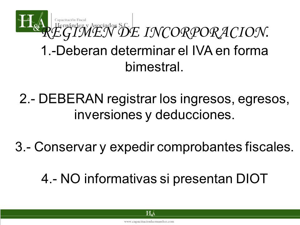 REGIMEN DE INCORPORACION. 1.-Deberan determinar el IVA en forma bimestral. 2.- DEBERAN registrar los ingresos, egresos, inversiones y deducciones. 3.-