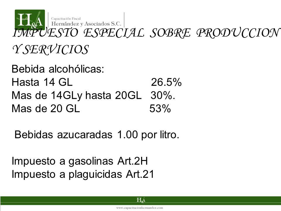 IMPUESTO ESPECIAL SOBRE PRODUCCION Y SERVICIOS Bebida alcohólicas: Hasta 14 GL 26.5% Mas de 14GLy hasta 20GL 30%. Mas de 20 GL 53% Bebidas azucaradas