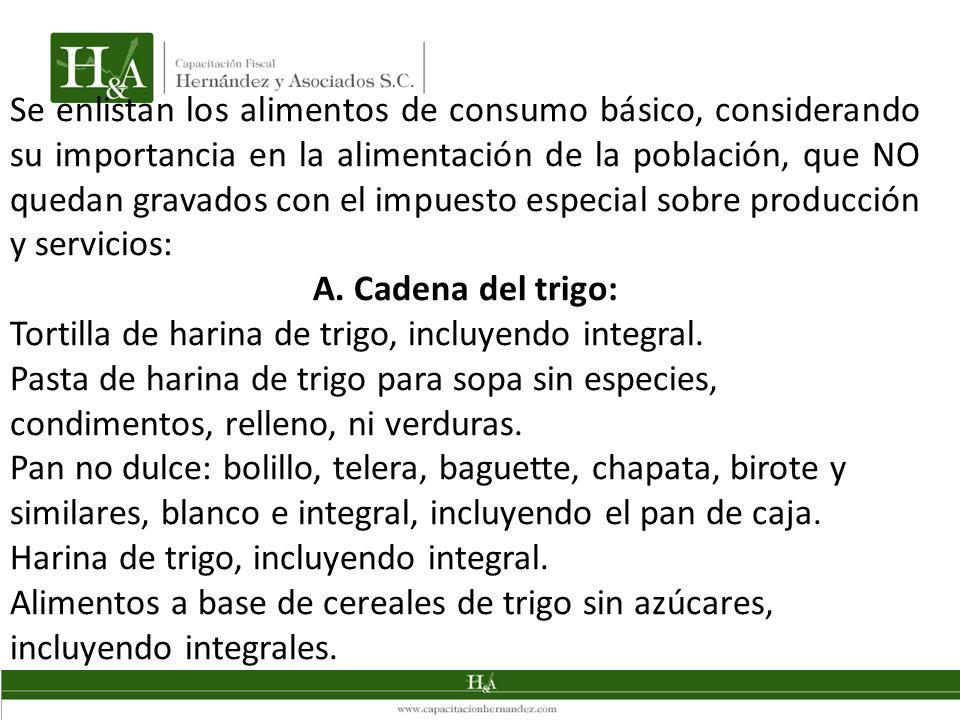 Se enlistan los alimentos de consumo básico, considerando su importancia en la alimentación de la población, que NO quedan gravados con el impuesto especial sobre producción y servicios: A.