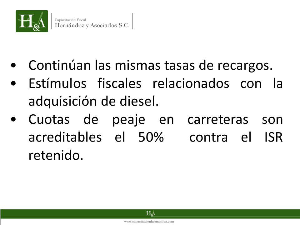 Continúan las mismas tasas de recargos. Estímulos fiscales relacionados con la adquisición de diesel. Cuotas de peaje en carreteras son acreditables e