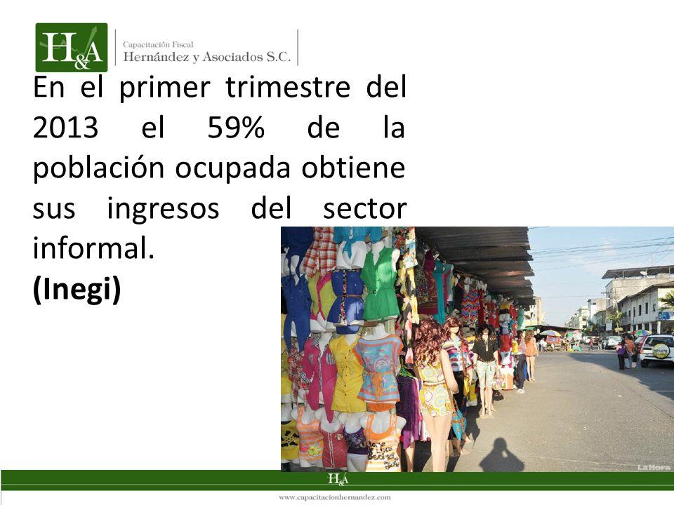 En el primer trimestre del 2013 el 59% de la población ocupada obtiene sus ingresos del sector informal. (Inegi)