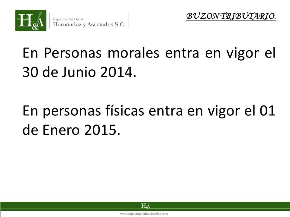 BUZON TRIBUTARIO. En Personas morales entra en vigor el 30 de Junio 2014. En personas físicas entra en vigor el 01 de Enero 2015.