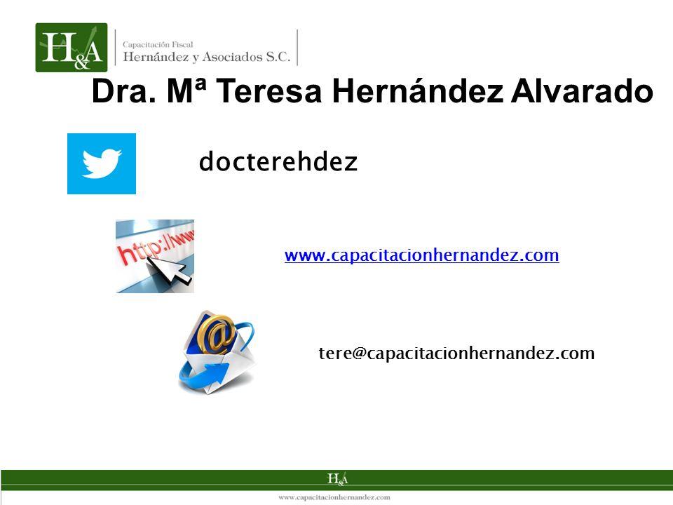 Dra. Mª Teresa Hernández Alvarado docterehdez www.capacitacionhernandez.com tere@capacitacionhernandez.com