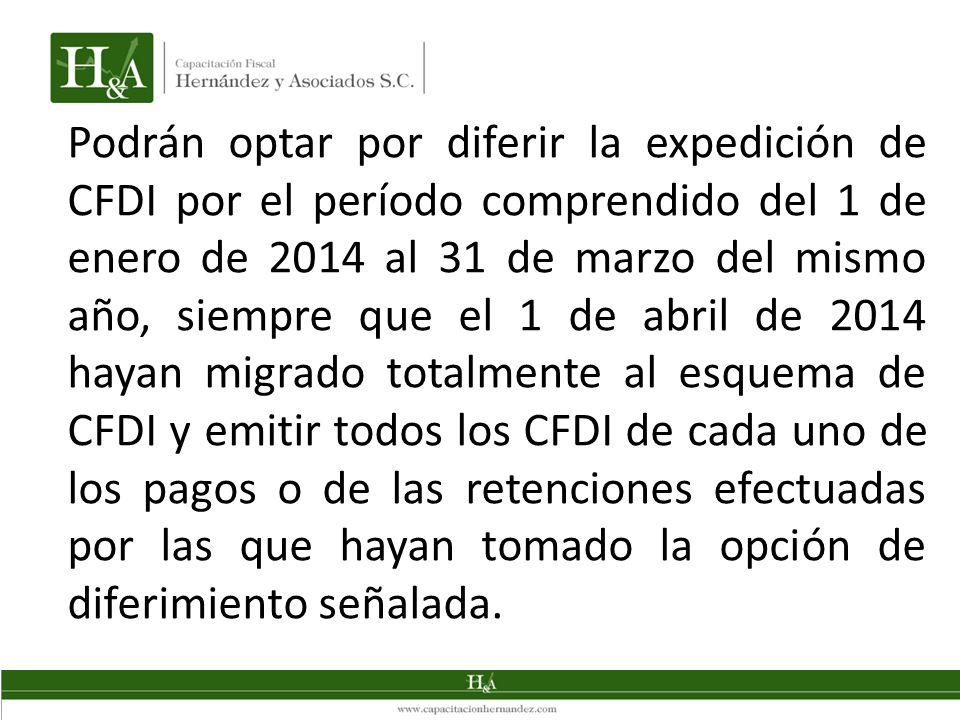 Podrán optar por diferir la expedición de CFDI por el período comprendido del 1 de enero de 2014 al 31 de marzo del mismo año, siempre que el 1 de abr