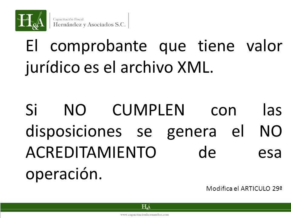 El comprobante que tiene valor jurídico es el archivo XML. Si NO CUMPLEN con las disposiciones se genera el NO ACREDITAMIENTO de esa operación. Modifi