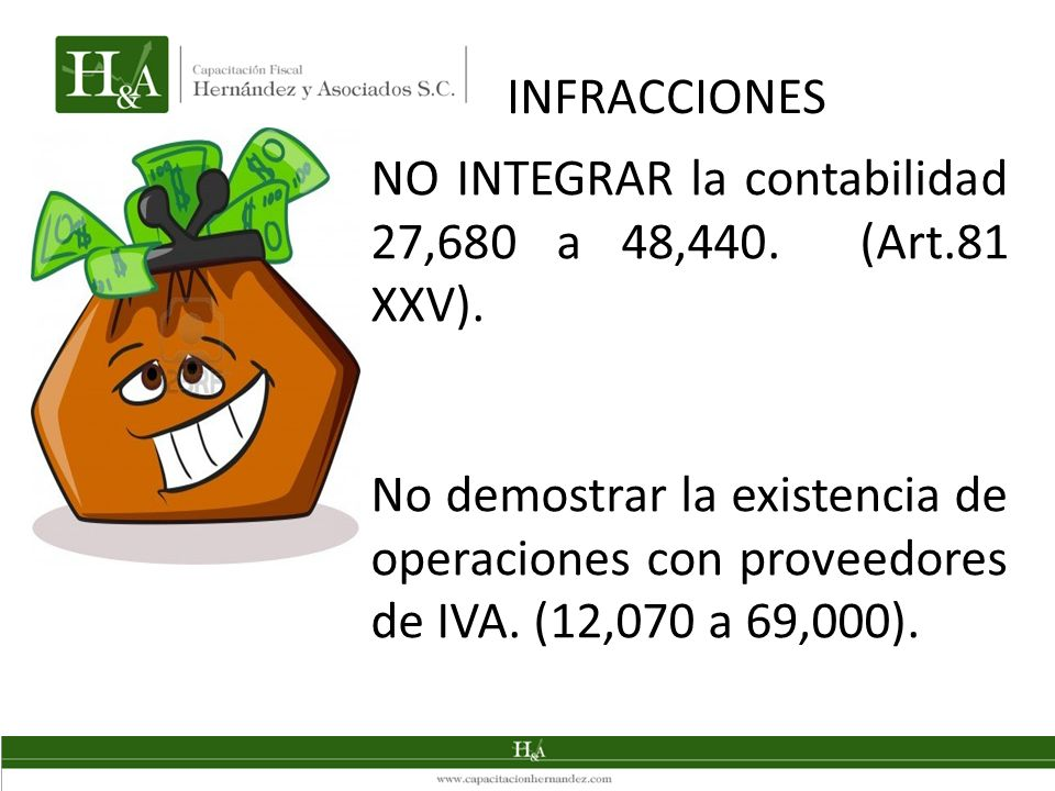 NO INTEGRAR la contabilidad 27,680 a 48,440. (Art.81 XXV). No demostrar la existencia de operaciones con proveedores de IVA. (12,070 a 69,000). INFRAC