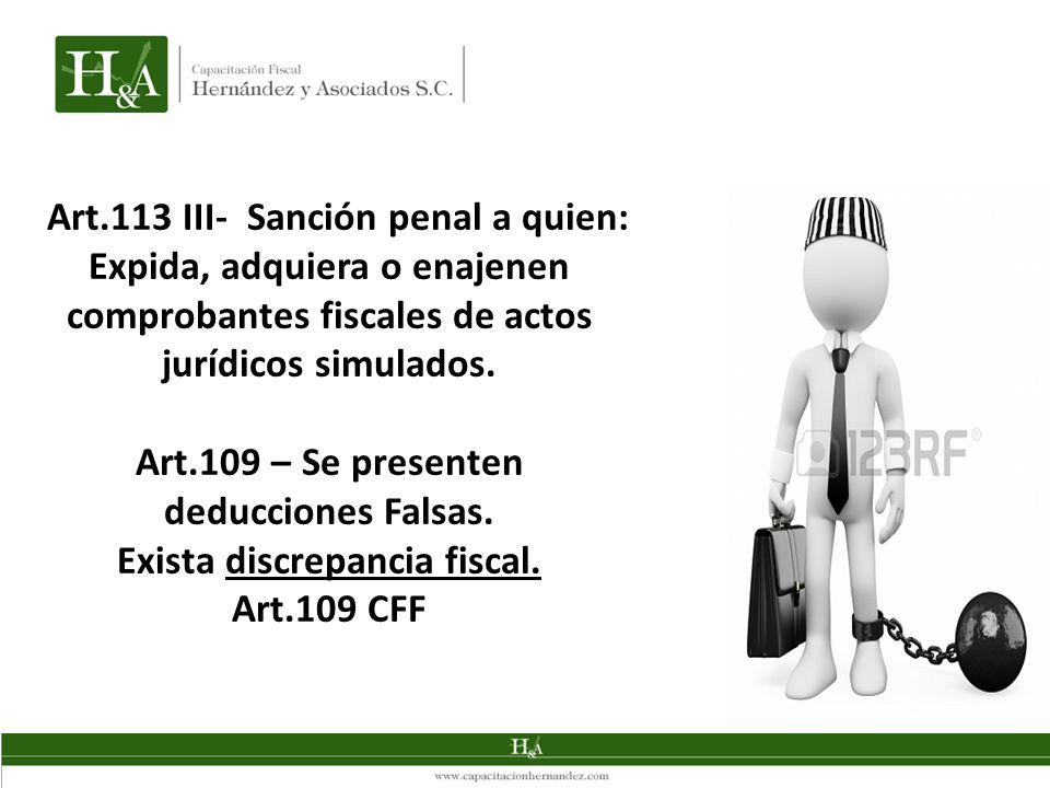 Art.113 III- Sanción penal a quien: Expida, adquiera o enajenen comprobantes fiscales de actos jurídicos simulados. Art.109 – Se presenten deducciones