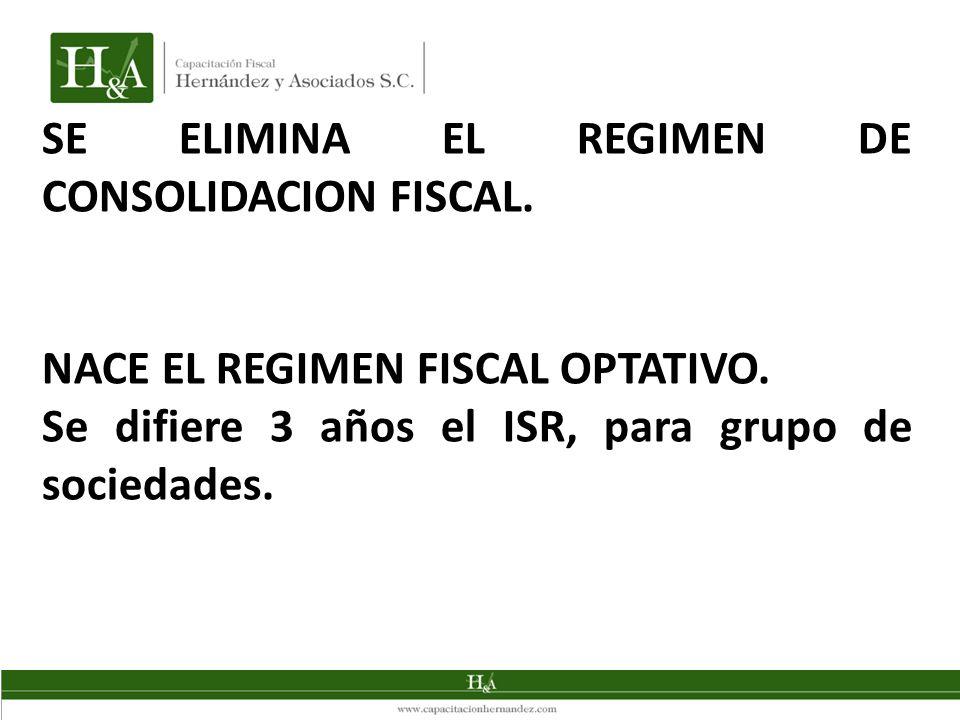 SE ELIMINA EL REGIMEN DE CONSOLIDACION FISCAL.NACE EL REGIMEN FISCAL OPTATIVO.