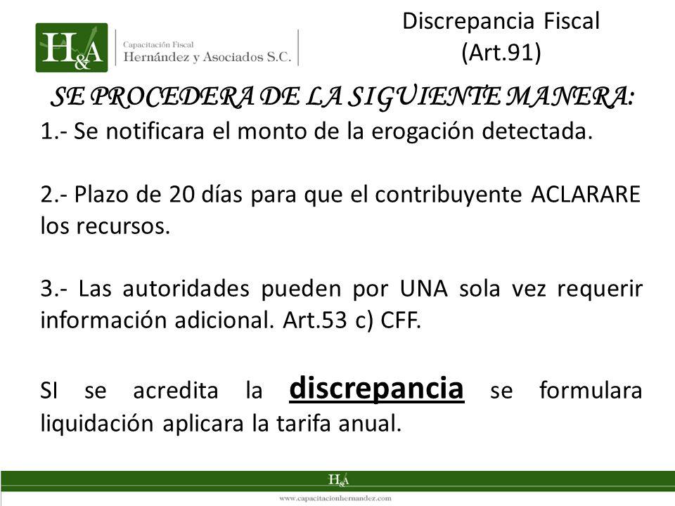 Discrepancia Fiscal (Art.91) SE PROCEDERA DE LA SIGUIENTE MANERA: 1.- Se notificara el monto de la erogación detectada. 2.- Plazo de 20 días para que