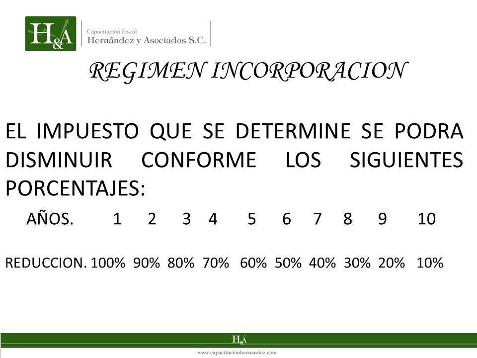 REGIMEN INCORPORACION EL IMPUESTO QUE SE DETERMINE SE PODRA DISMINUIR CONFORME LOS SIGUIENTES PORCENTAJES: AÑOS. 1 2 3 4 5 6 7 8 9 10 REDUCCION. 100%