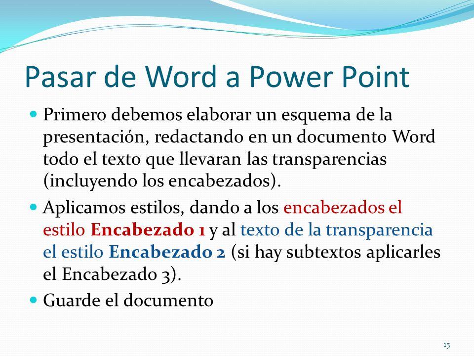 Pasar de Word a Power Point Primero debemos elaborar un esquema de la presentación, redactando en un documento Word todo el texto que llevaran las tra