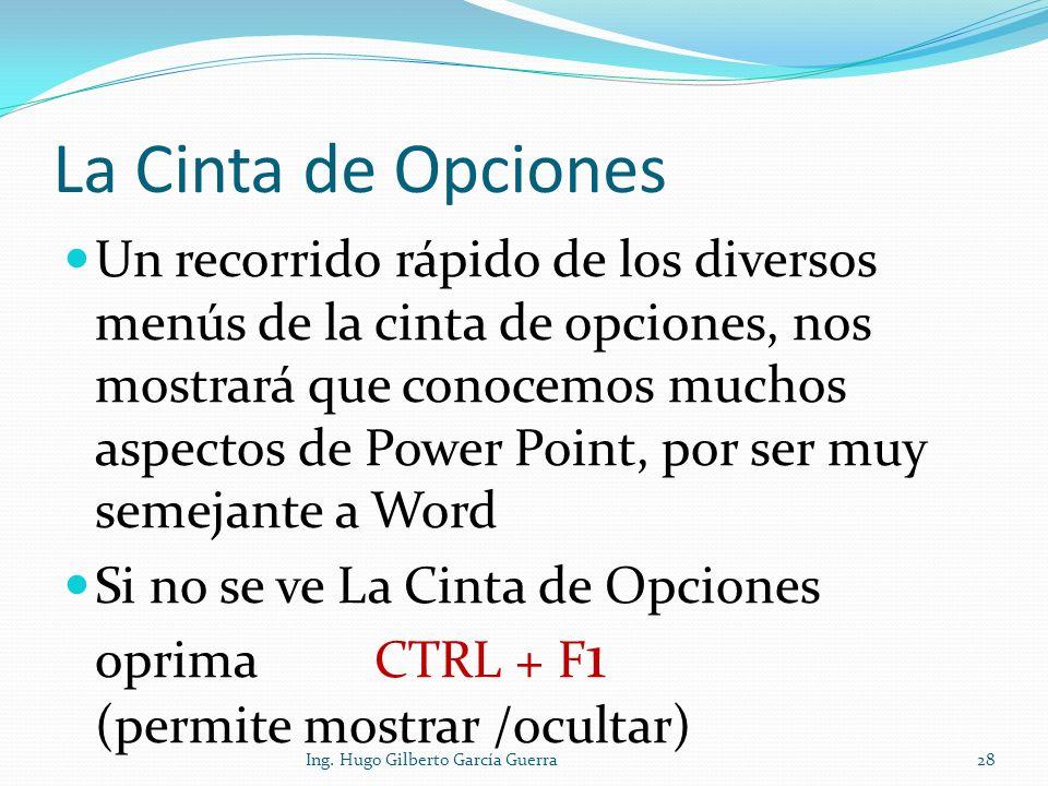 La Cinta de Opciones Un recorrido rápido de los diversos menús de la cinta de opciones, nos mostrará que conocemos muchos aspectos de Power Point, por